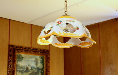 A Pair of Vintage French Ceramic Ceiling Light Lamp floral hand painted sale now
