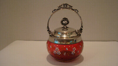 Antique Victorian Cranberry Glass Jam Jar Enamel Flowers Silver Plate Lid/Handle