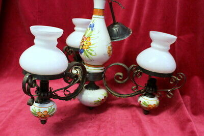 Original Vintage French 3 arms Porcelain Chandeliers hand painted lovely colors
