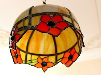 An Antique Heavy Vintage Leaded Amber Marble Slag Glass With Stones Light  1910