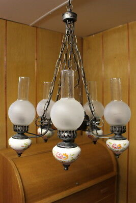 Original Vintage French 5 arm Porcelain/wooden & cast Chandeliers hand painted