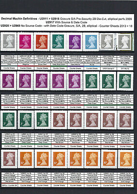 Specialised Collection - 95 Machin SG 'U' value Security Stamps issd 2009 > 2019