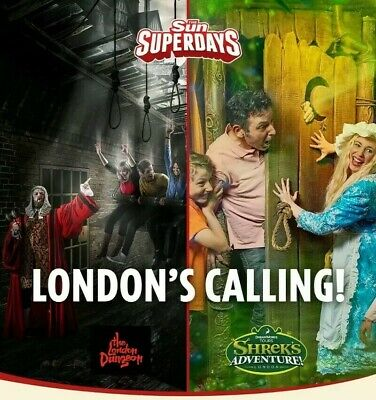 2 X tickets for Shrek Adventure london or London Dungeon (Pick Your Date)