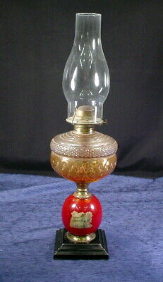 Antique Kerosene Parlor Lamp Victorian Painted Glass W/ P&A Eagle Burner Oil