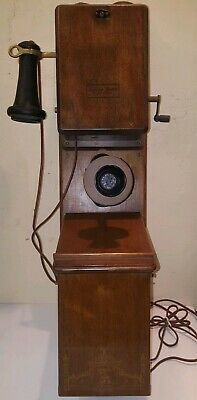 Antique  Northern Electric Wooden push button  Wall Phone Telephone very rare