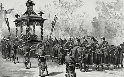 President Garfield Funeral Hearse, 12-Horse Hitch, Huge 1880s Antique Print