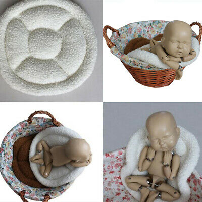 Newborn Photography Props Baby Rug Soft Posing Basket Round Blanket Pillow Mat