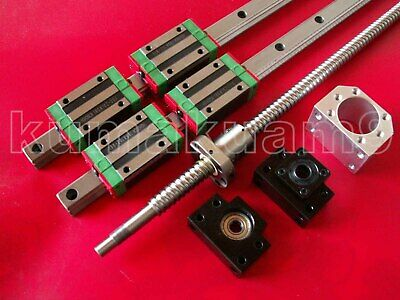 HGR20-1000mm Linear Guideway 2 Rail+ballscrew RM2005-1000mm+BK/BF15+ nut housing