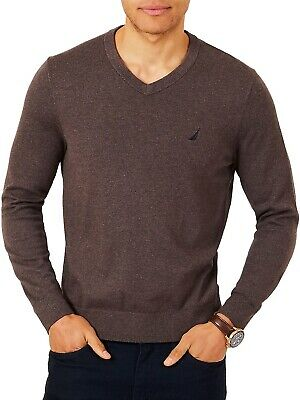 Nautica Jersey Navtech V-Neck Sweater Sable Heather Mens 2XL New