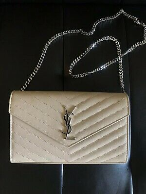 9443636290 Authentic YSL Leather Monogram Wallet on Chain In Grain De Poudre 1,650$+
