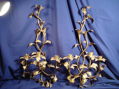 Pair Vtg GILT TOLEWARE GOLD HOLLYWOOD REGENCY ITALY  WALL SCONCE CANDLE HOLDERS
