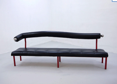 Vintage Black Leather Bench Sofa, Large size, Postmodern design, 1980s