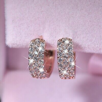 18k rose gold gf made with SWAROVSKI crystal huggie stud classic earrings 13mm