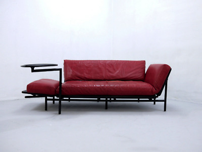 Rataplan Red Leather Sofa by Roberto Tapinassi for Dema, Italy 1990s