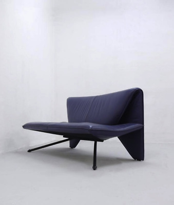 Vintage Purple Leather Sofa Loveseat, Postmodern 1980s Design