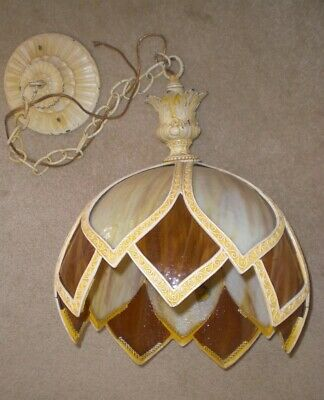 True Antique Victorian Slag Glass Chandelier Ceiling Fixture Hanging Light