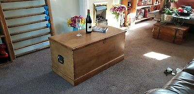 Victorian blanket box/antique COFFEE TABLE Stripped pine BOX /country/farmhouse