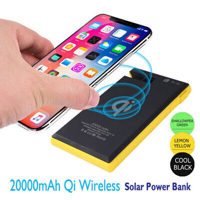 Wireless Solar Power Banks 20000mAh 2 USB Waterproof Battery Chargers for Phone