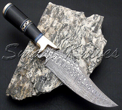 Smart Knives Hand Made Damascus Steel Hunting Bowie Knife Handle Bull Horn