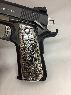 COLT 1911 GRIPS Hand engraved w/ Pony Logo 45 cachas 38