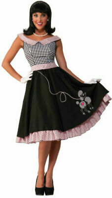 37f6830dcc011 50's Checkered Cutie (Black & White Poodle Dress) Adult Women's Costume