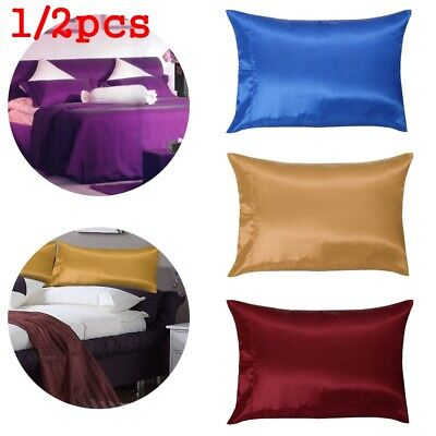 2 pcs Pure Mulberry Silk Pillow  Pillowcase Cover Housewife Queen Solid Bedding