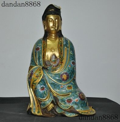 Old Chinese purple copper Cloisonne Gilt Buddhism Guanyin Kuan-Yin Buddha Statue