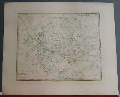 Northern Constellations 1852 Stieler Antique Copper Engraved Celestial Chart