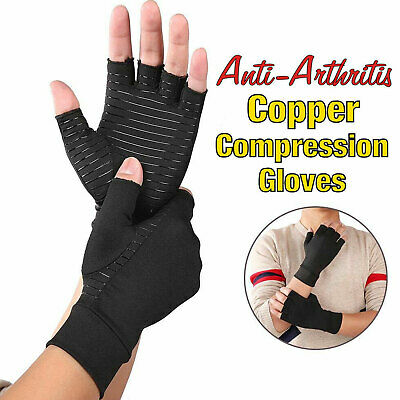 1Pair Copper Anti Arthritis Gloves Hand Support Pain Relief Finger Compression B