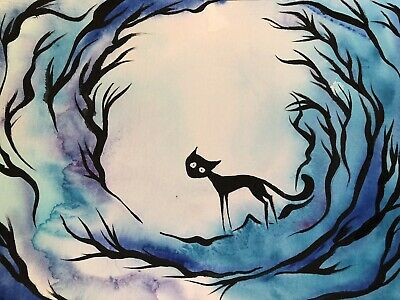 Keep Your Wildness. FREE POST Sienna Mayfair Cat Painting A4 Original Quirky