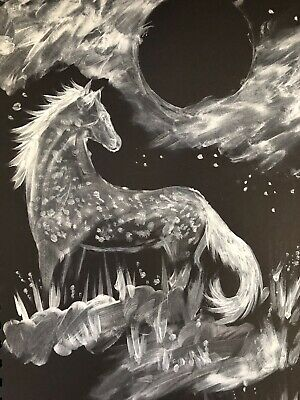 Nightmare Night Mare. FREE POST Sienna Mayfair Horse Painting A4 Original