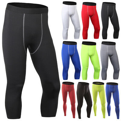 Mens Compression Tights Base Layer Running Yoga Body Gym Pants Trousers Bottom