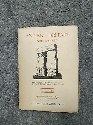 Rare Ordnance Survey CLOTH Map Ancient Britain S 1951 Major Antiquities
