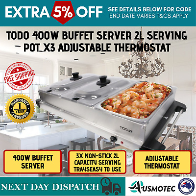 NEW Benchtop Server Bain Marie 3 Tray Party Buffet Food Warmer Electric Display
