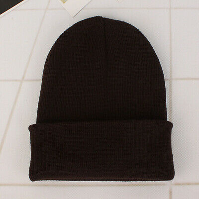the best attitude 69b63 25e79 Unisex Solid Wool Knit Hat Autumn Winter Warm Beanie Hedging Cap Brown NICE   UR