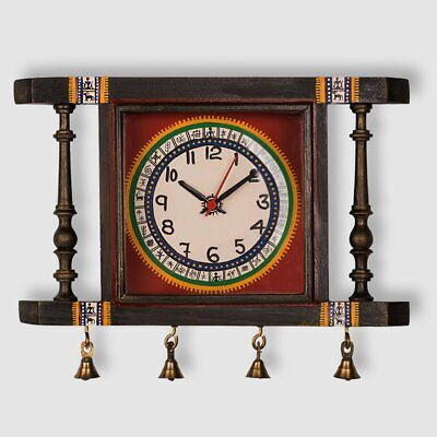 """Wall Clock Wooden Tribal Antique Christmas New Year Home Decor Painted Watch 10"""""""