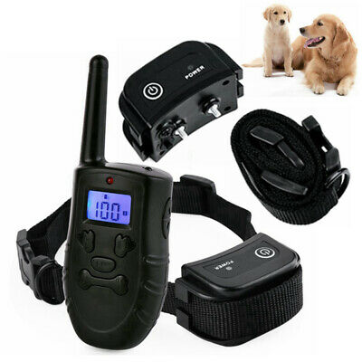 2 Dogs Shock Training Collar Rechargeable Remote Control Waterproof 328 Yards