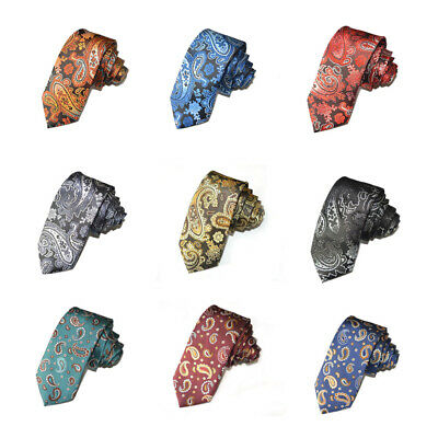Fashion Classic Men Flower Paisley Flower Skinny Narrow Wedding Party Necktie