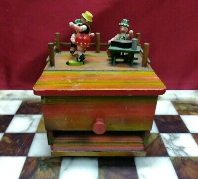 Vintage German Wood Music Box Mechanical Cigarette Dispenser