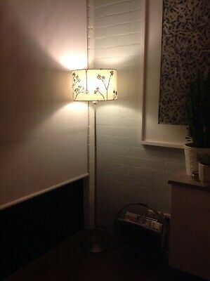 Lovely Standard Lamp With Off White Screen Printed Shade And Brushed Chrome Base