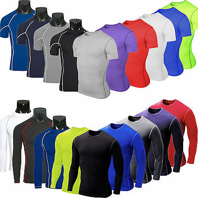 Mens Compression Under Base Layer Sports Gym Fitness T-Shirt Tight Tops Running