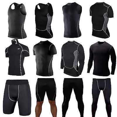 Mens Compression Base Layer Sport T-Shirt Tops Vest Leggings Pants Shorts Black