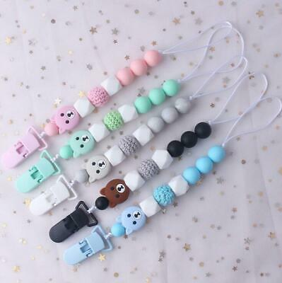 Baby Pacifier Clips Silicone Pacifier Chain Bear Beads Teether Holders Clips