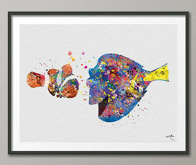 Marlin and Dory Watercolor Print Finding Nemo Disney Nursery Art Kids Wall Decor