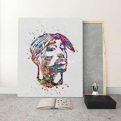 Tupac Shakur Poster 2PAC Thug Life Hip Hop Rapper Watercolor Canvas Art Print