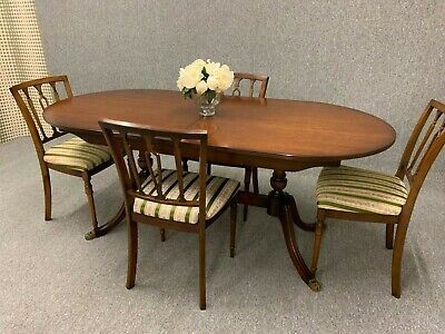 Mahogany Dining Table & Chairs Antique Regency Style Table & 4 Chairs Extendable