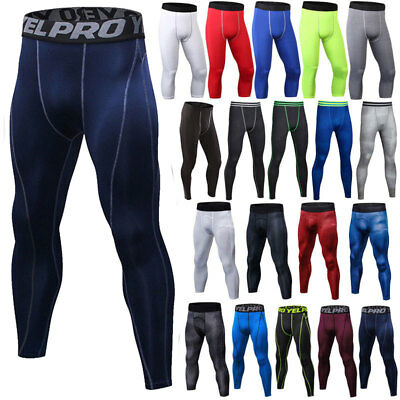 Men's Compression Fitness Leggings Base Layer Sports Running Long Pants Bottoms