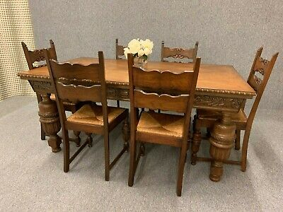 Oak Dining Table & Chairs Bulbous Carved Jacobean Style 6 Ladder Back Chairs