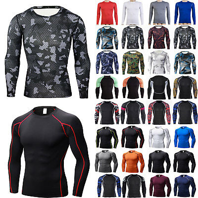 Men Long Sleeve Compression Under Base Layer Top GYM Thermal Sport Tights Shirt