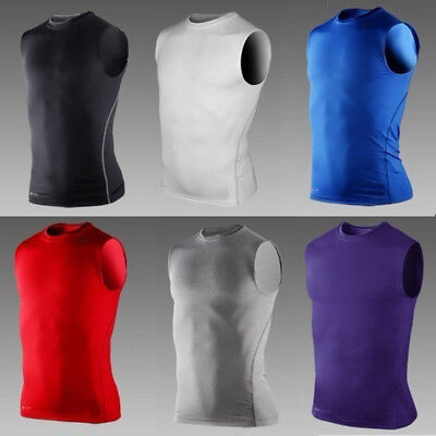 Mens Compression Vest Sleeveless Tank Tops Base Layer Skins Gym Fitness Running